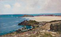 Early 20th century Polzeath Beach Landscape Cornwall Godwin BENNETT (1888-1950)