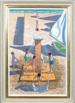 Large 20th Century Beach Children Shower Nauzan Royan France Andrew MACARA