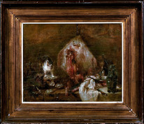 18th Century French Old Master Still Life Fish Ray Oysters Cat & Silver CHARDIN