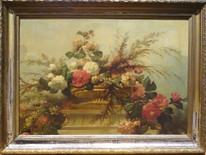 Fine Huge French 19th Century Flowers Still Life Master Antique Oil Painting