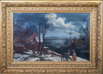 Large 16th 17th Flemish Dutch Old Master Winter Landscape Pieter BRUEGEL