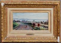 19th Century French Barbizon Landscape Cattle Figures Charles François DAUBIGNY