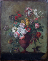 Large 18th Century French Still Life Flowers & Goldfinches Old Master Painting