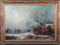 Huge 18th Century Frozen Winter Landscape Hyde Park Ice Skating DE LOUTHERBOURG