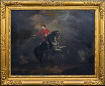 Large 18th Century Portrait British Cavalry Officer Horse French Napoleonic War