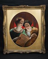 19th Century English School The Recital Ladies Singing Antique Oil painting