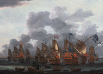Large 17th Century Dutch Navy The Battle Of Texel 1673 by Ludolf I BACKHUYSEN