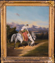 19th Century English Lady Portrait Riding Her Horse & Greyhound Antique Painting