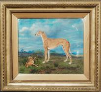 "1906 English School Champion Greyhound ""Wartnaby Task"" & Hare Coursing Portrait"