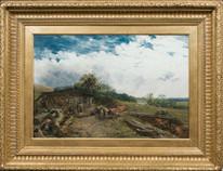Large 19th Century English Loggers Summer Landscape James John Hill