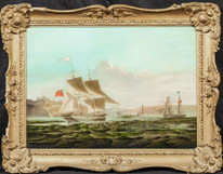 19th Century British Royal Navy Brig Entering Whitby Harbour George II CHAMBERS