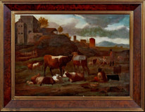 Large 17th Century Dutch Italianate Old Master Cattle Sheep Cows Landscape