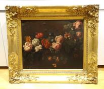 Fine Large 17th Century French Old Master Flowers Roses Still Life MONNOYER