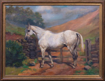 19th Century English White / Dapple Grey Horse By A Gate Landscape Oil Painting
