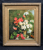 Large Circa 1900 Still Life Azeleas Garden Flowers Study Charles Courtney CURRAN