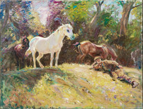 Large Early 20th Century English Groom & Horses Resting In Summer A J MUNNINGS