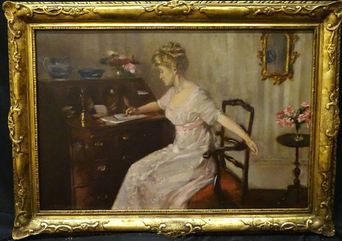 Large 1909 English Portrait Of An Elegant Lady At Her Writing Desk Percy STURDEE
