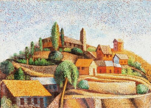 Early 20th Century French Impressionist Pointillist Village Victor CHARRETON