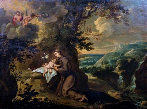 Large 17th Century Italian Old Master Vision Of Saint Anthony & Christ