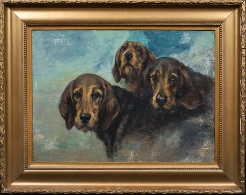 Early 20th Century English School Portrait Of Three Hounds Dogs Antique Painting
