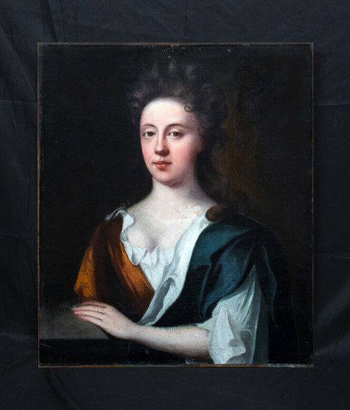 17th Century English Portrait Of Sarah Woolryche, Wife of J Hewley (1627-1710)