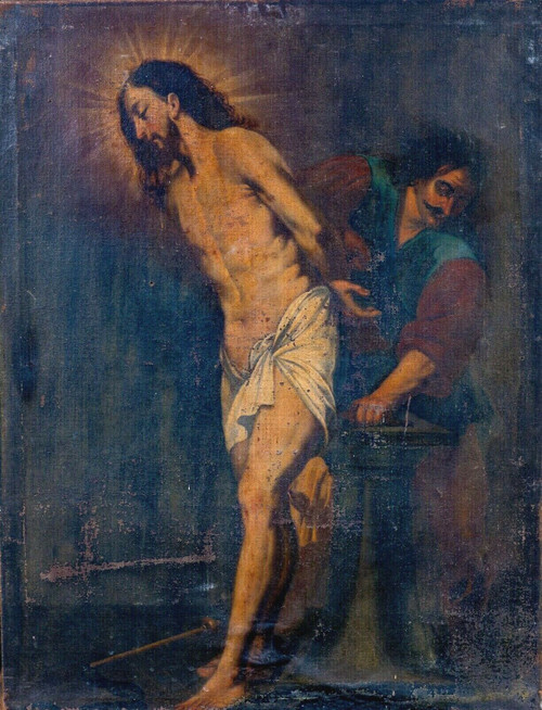 Large 17th Century Italian Old Master Flagellation Of Christ Antique Painting