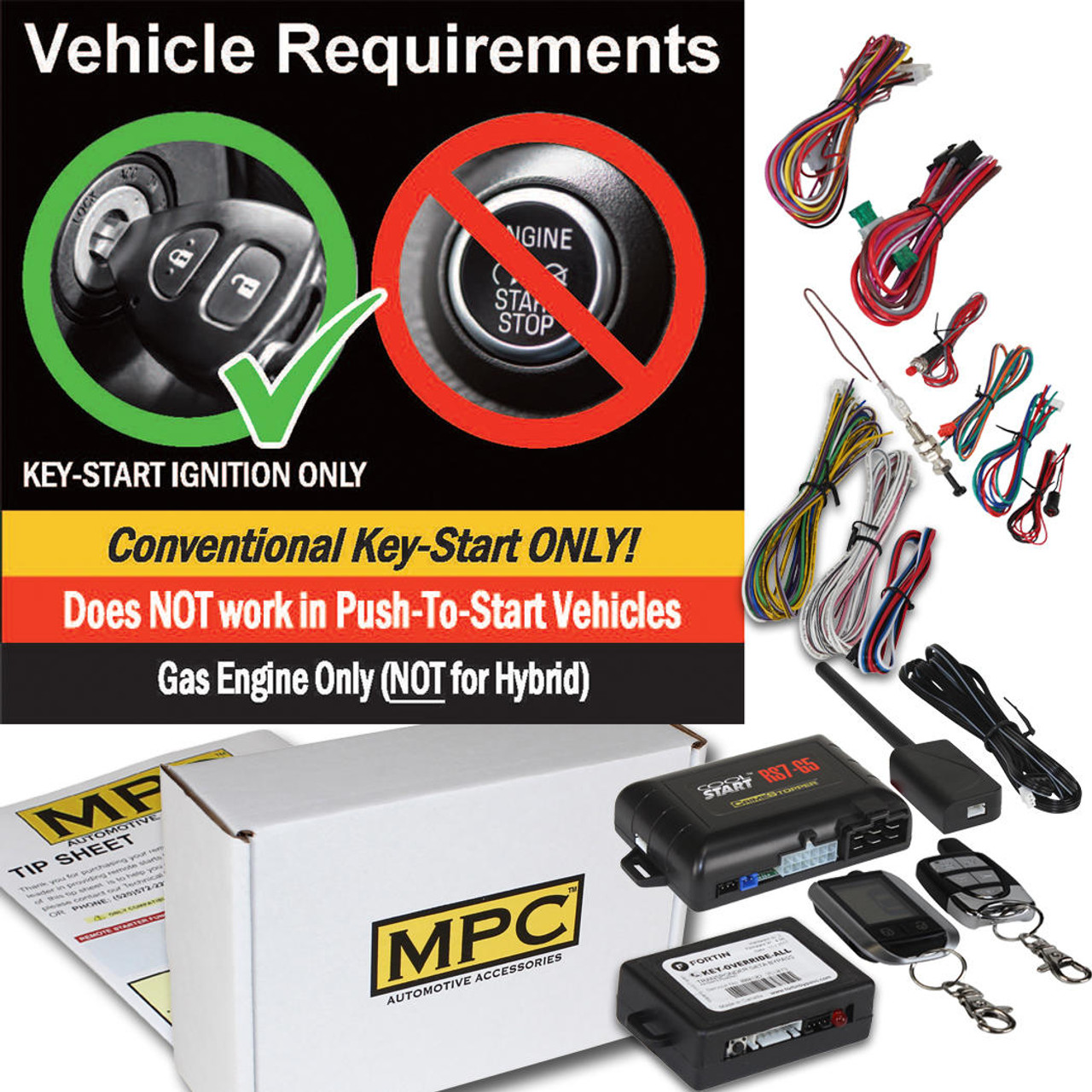 MPC 2 Way LCD Remote Start With Keyless Entry Kit For 2003-2004 Lincoln Town Car