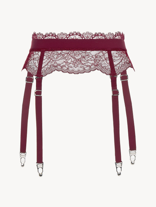 Cranberry Leavers lace suspender belt