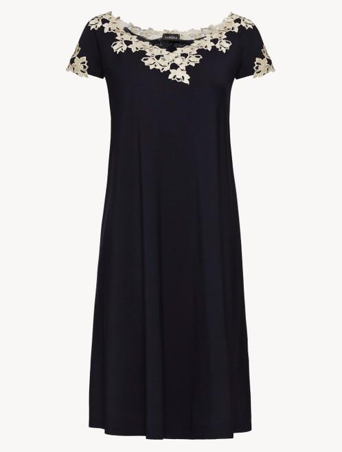 Dark blue jersey short-sleeved nightgown