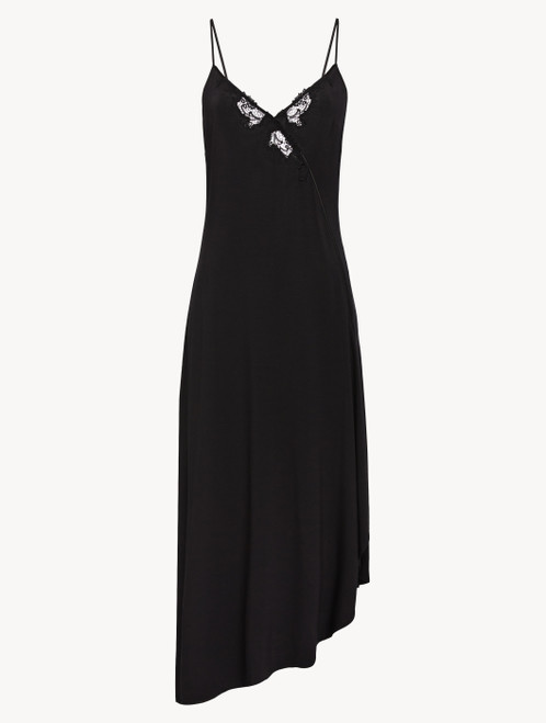 Nightgown in black modal jersey with embroidered tulle
