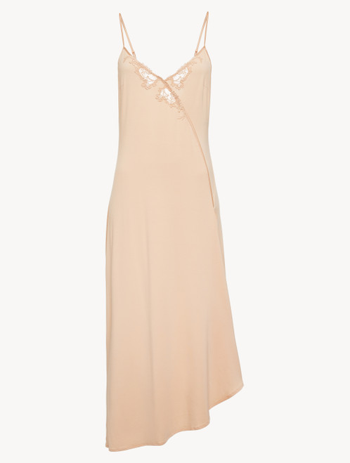 Long nightgown in pink modal jersey with embroidered tulle and asymmetric cut
