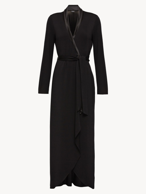 Robe in black modal jersey