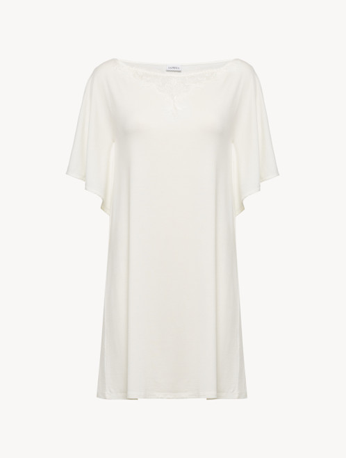 Short nightgown in white modal jersey with embroidered tulle