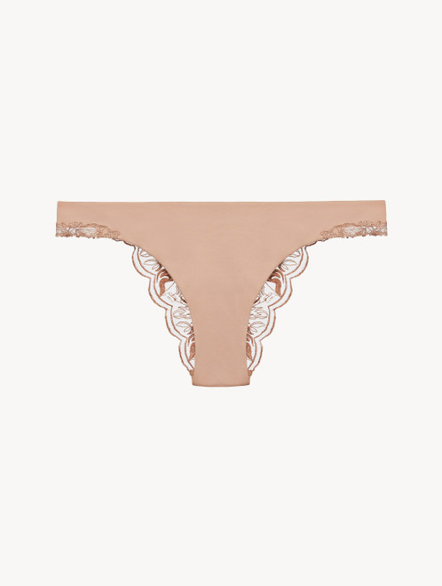 Brazilian Brief in beige embroidered tulle