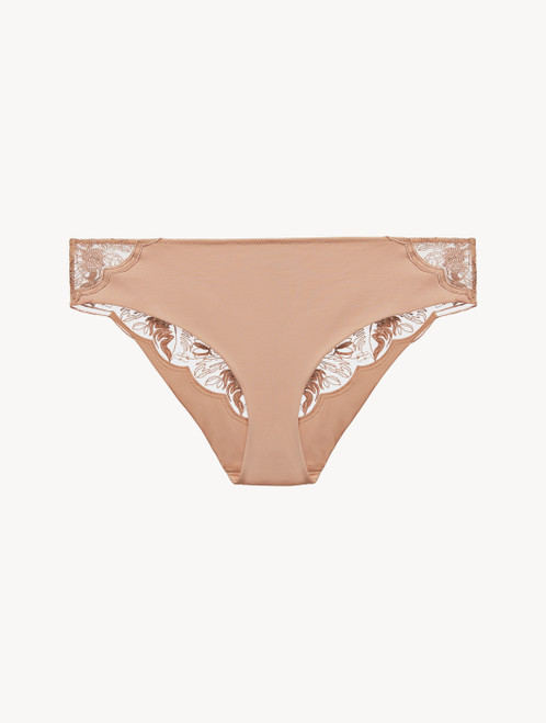 Medium Brief in beige embroidered tulle