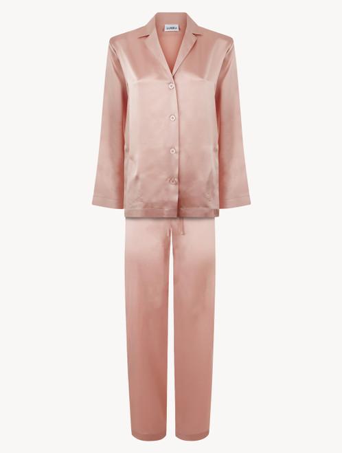 Powder pink silk pajama set