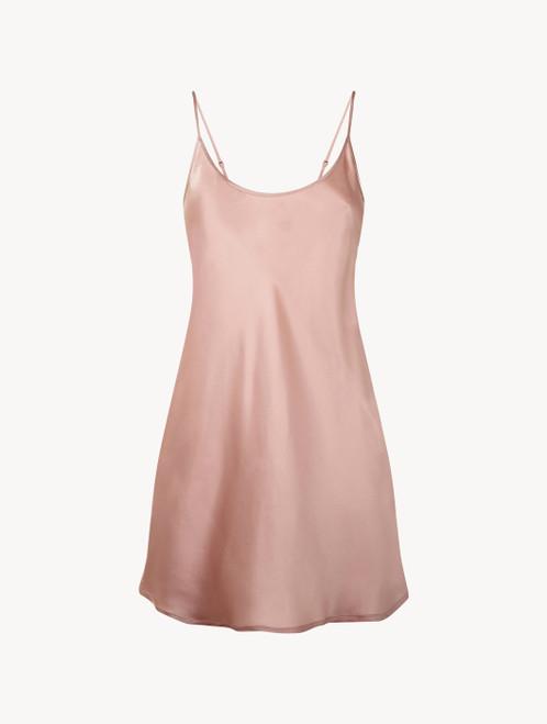Powder pink silk short slip
