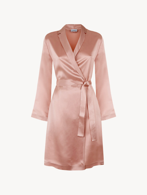 Powder pink silk short robe