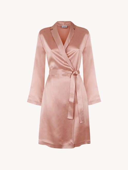 Powder pink silk short robe
