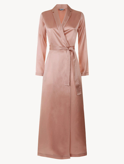 Powder pink silk long robe