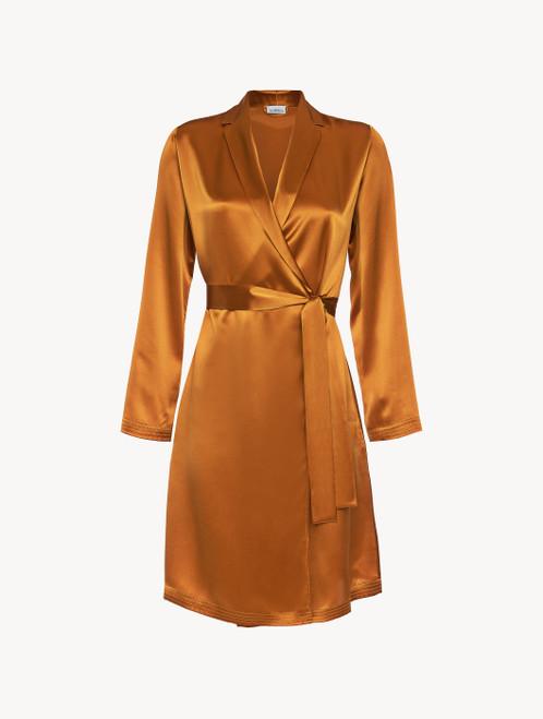 Topaz yellow silk short robe