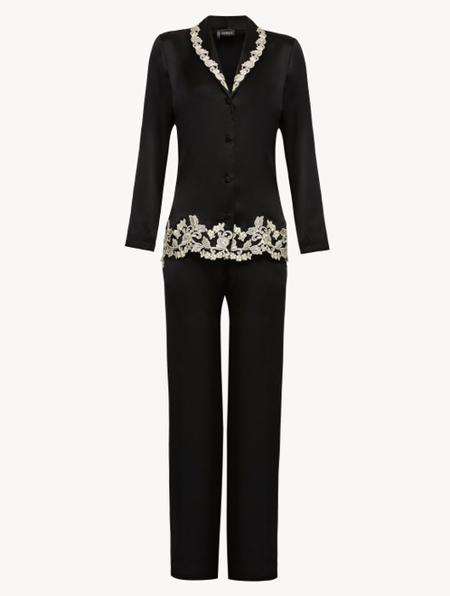 Black silk pajamas with ivory frastaglio