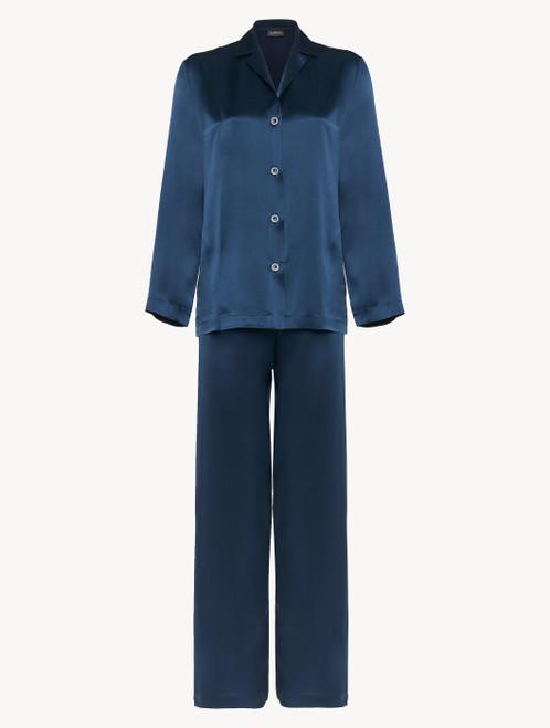 Pajamas in navy blue silk