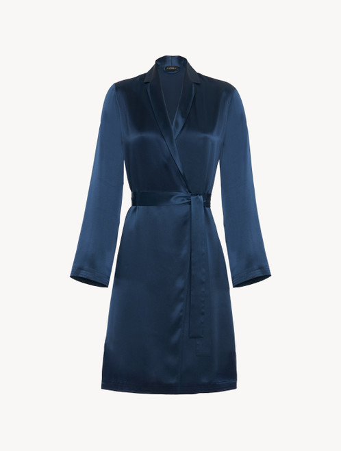 Short robe in navy blue silk