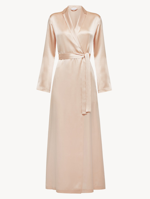 Long robe in blush pink silk