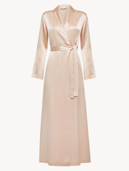 Long robe in blush pink silk