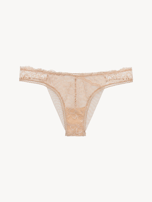 Brazilian Brief in beige Lycra with Leavers lace