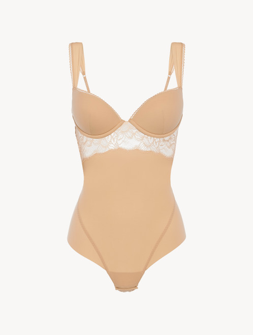 Underwired Bodysuit in beige Lycra with Leavers lace