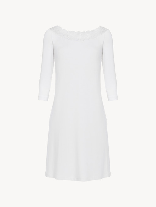 Nightgown in white stretch modal jersey with Leavers lace