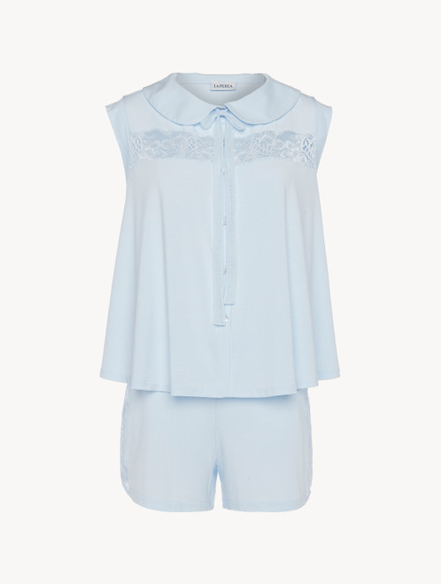 Blue pyjamas in stretch modal jersey with Leavers lace